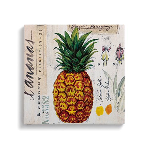 Pineapple Yellow 8 x 8 Earthenware and Cork Trivet With Conversion ()