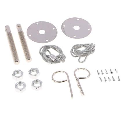 Silver Universal Auto Car Engine Lock Bonnet Locking Hood Latch Pin Kits
