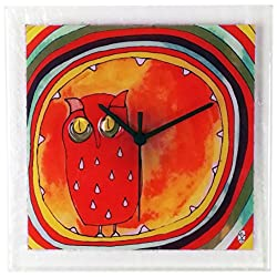 River City Clocks Square Glass Art Clock with Owl
