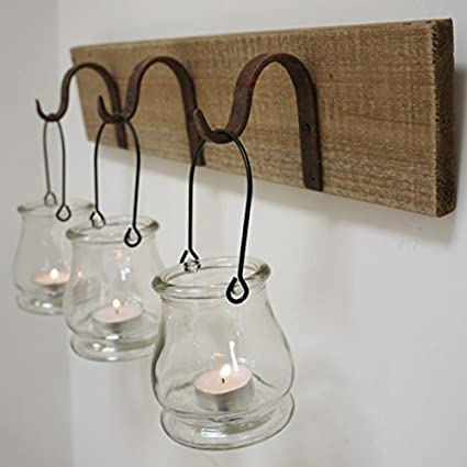 Best Value Here Wall Mount Rustic Wooden 3 Glass Tea Light Holders Rust Metal Hanging Hooks Tealight Lantern Candle Amazon Co Uk Kitchen Home