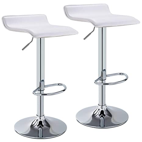 Miraculous Duhome Set Of 2 Bar Stools Modern Contemporary Adjustable With Leather Seat Bar Chairs White Ibusinesslaw Wood Chair Design Ideas Ibusinesslaworg