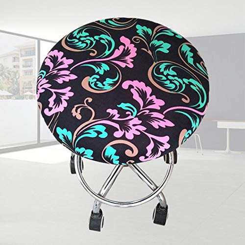 WEEFORT 1 Pc Soft Elastic Spandex Round Chair Cover Four Seasons Washable Floral Print Slipcover Removable Bar Stool Case (Slipcovered Chairs Club)