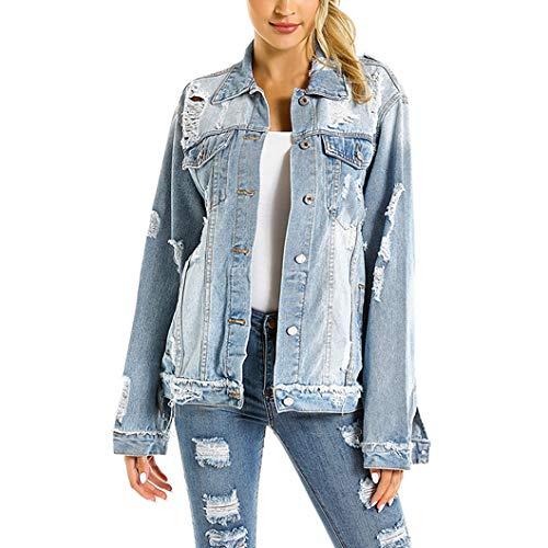 COSYOU Women Button Down Loose Fit Long Plus Size Denim Jacket Trench Coat (Light Blue, L)