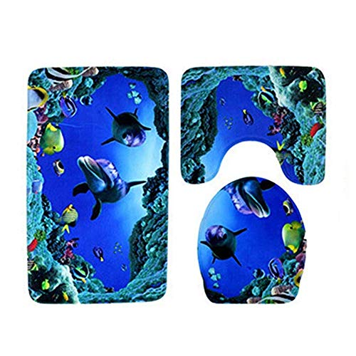 Wrewing Under Water Toilet Rug Mat Set,3 Piece Non-Slip Memory Foam Extra Soft Shower Bath Rugs Contour Mat and Lid Cover for Bathroom