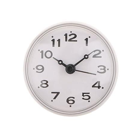 MagiDeal Horloge En Silicone Étanche Cuisine Salle De Bain Baignoire Douche  Ventouse Montre Blanc