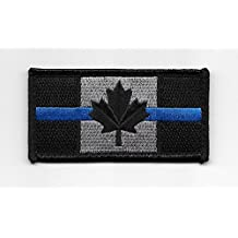 Police Law Enforcement Thin Blue Line Canada Flag Patch with Hook/Loop Backing