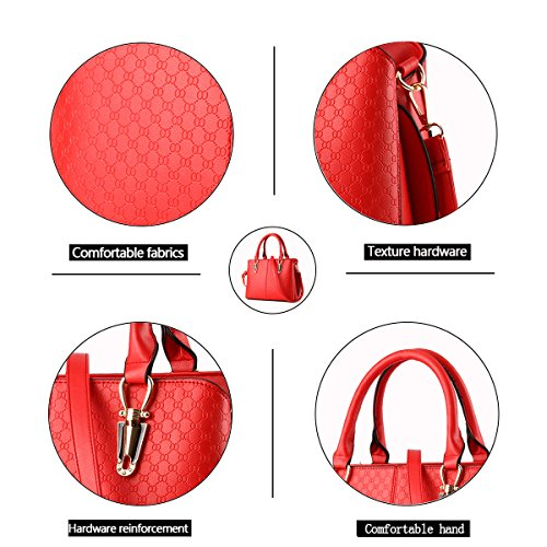 Tisdaini Bag Women's Red Shoulder Embossed PU Fashion Messenger Handbag Quality rrqw8Rd