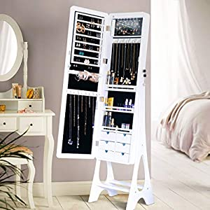 Lockable Design Large Capacity Dressing Mirror Makeup Jewelry Armoire Full Length Mirror Wall Door Mounted Maginetic Zones YOLENY Champagne Gold Coated Jewelry Organizer Jewelry Cabinet
