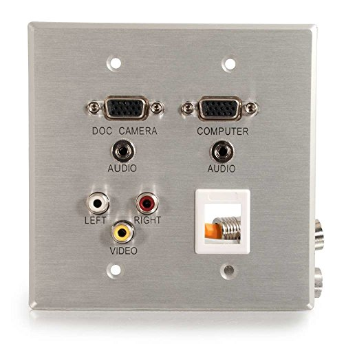 C2G RAPIDRUN DOUBLE GANG INTEGRATED DUAL VGA (HD15) DUAL 3.5MM RCA AUDIO/VIDEO KEYSTONE WALL -