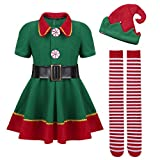 dPois Kids Boys Girls Santas Elf Outfits Shirt Pants/Dress with Hat Belt Tights Set Christmas Fancy Dress Up