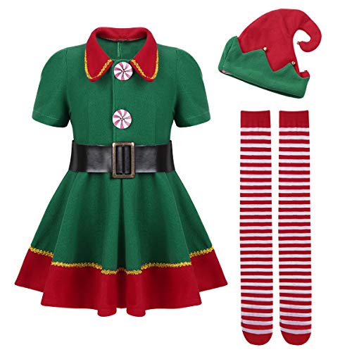 dPois Kids Boys Girls' Santa's Elf Outfits Shirt Pants/Dress with Hat Belt Tights Set Christmas Fancy Dress Up Green& Red (Girls) 12-18 Months