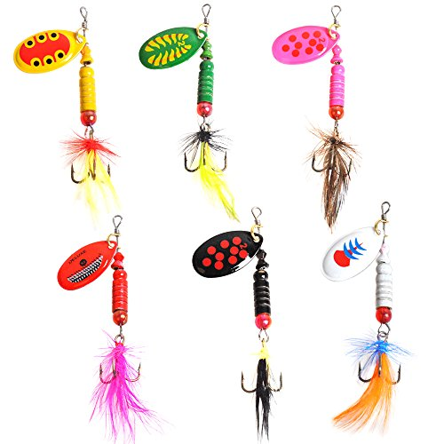 Dr.Fish 6 Pack Spinners Rooster Tail Fishing Lures 1/8oz Bass Trout Walleye Salmon Bait Assortment Treble Hooks