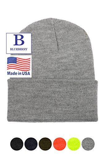"Stretch Mens Beanie (Blueberry Uniforms Grey 12"" Stretch Beanie Watch Hat -Acrylic Rib Knit Winter Skully)"