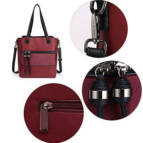 3 Design Black Tote Handbag Ladies Unique Large Design Shoulder 1 With Bag Compartment Metal Work Tassel Women Leather Burgundy and 4dp1q