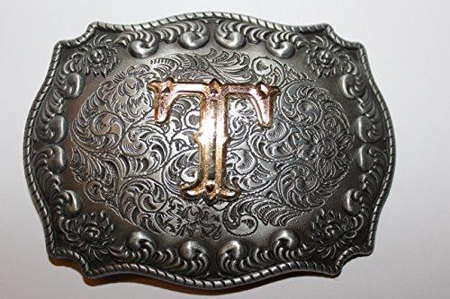 Buckle Gürtelschnalle Koppel Initialen Buchstabe T mit echter Goldauflage