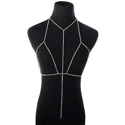 5518de67dd Amazon.com: Autumn Water Sexy Crystal Bra Slave Harness Body Chain ...