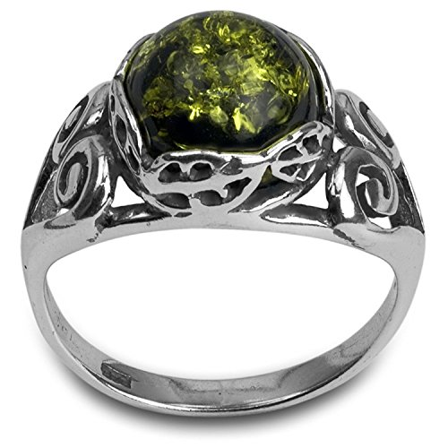 - Sterling Silver Green Amber Carved Classic Round Ring