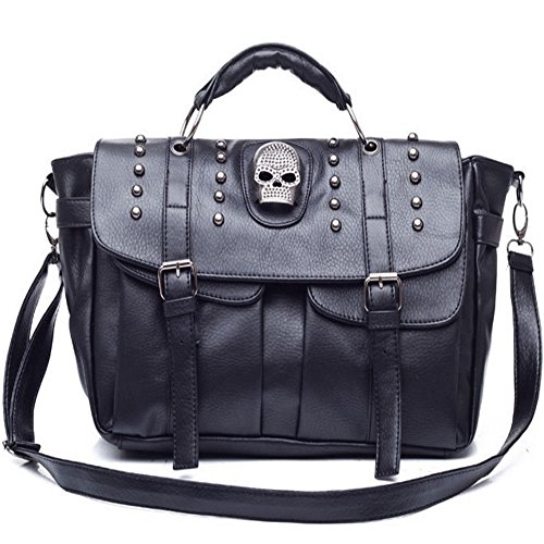FiveloveTwo Halloween Personality Womens Skull Top Handle Shoulder Bags Purse Satchel Tote Fashion Big Bag ()