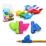 Pencil Grips, Firesara New Design Ergonomic Butterfly Wing and Fish Style Colored Pen Training Grip Holder Hand Aid For Adult Children Kindergarten Toddler kids Special needs (9 PCS)