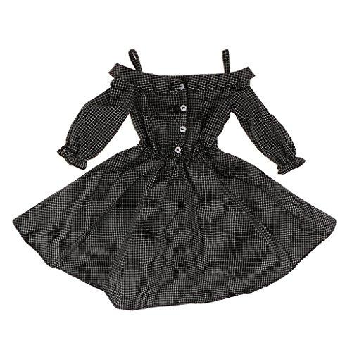 Bjd Dress - MonkeyJack Fashion Plaid Checked Shoulder Strap Dress for 1/3 BJD SD LUTS Dollfie Doll Clothes Black