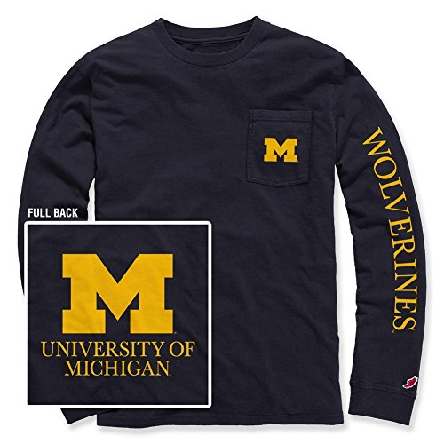 Michigan Wolverines Long Sleeve Pocket Tshirt Navy - XL