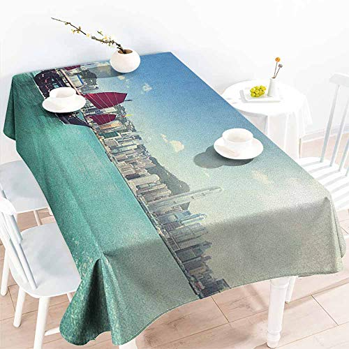 familytaste Sailboat,Party Table Cover Hong Kong Harbour Skyline Architecture Buildings Cloudy Sky Ship Cityscape 60