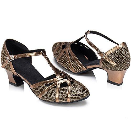 Wealsex Zapatos Puntas Puntiagudas Baile Talón Medio De Étnica Danza Salón Latinos Marrón 6 Cm Satén Mujeres rrwdSY