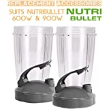 Flip Top To Go Lip with 24oz Tall Cup for Nutribullet (2 PACK)