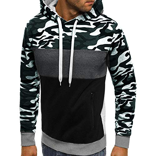 - Men Camouflage Plus Size Pullover Long Sleeve Hooded Sweatshirt Tops Blouse
