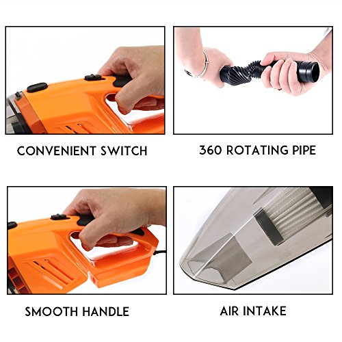 WarmCare Car Vacuum Cleaner 120W 12V Mini Wet Dry Portable High Power Suction Handheld 3.5Kpa Automotive Cleaners Tools Car Truck VAN with 16.4FT (5M) Cord Multiple Attachments Orange by WarmCare (Image #2)