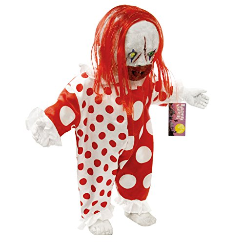 Halloween Haunters Standing 2 foot Scary Circus Clown Demon Baby Doll Prop Decoration - Thick Rubber Latex Evil Zombie (Demon Baby Halloween Decoration)