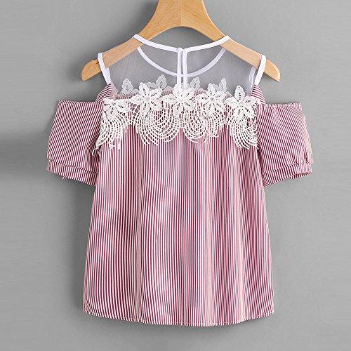 Donna Trasparente Camicie Shirt Shirt T Rosa Pizzo Shirt Tops Blusa T Manica Corta Estate Weant Fiori Maglietta Elegante Casual Camicetta Sciolto Primavera Donne Maglietta Donne Cime T Striscia wRIO4qf