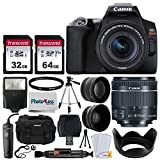 Canon EOS Rebel SL3 Digital SLR Camera (Black) + EF-S 18-55mm f/4-5.6 is STM Lens + 58mm 2X Professional Telephoto & 58mm Wide Angle Lens + 32GB & 64GB Memory Card + Case + Tripod + Flash + Lens Hood
