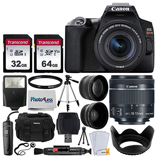 Canon EOS Rebel SL3 Digital SLR Camera (Black) + EF-S 18-55mm f/4-5.6 is STM Lens + 58mm 2X Professional Telephoto & 58mm Wide Angle Lens + 32GB & 64GB Memory Card + Case + Tripod + Flash + Lens Hood
