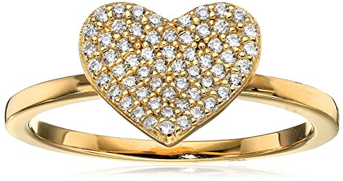 Crislu Simply Pave 18K Gold Plated Sterling Silver Cubic Zirconia Heart Ring, Size 8