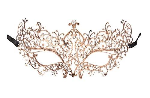 Luxury Masquerade Mask for Women Metal Rhinestone Mardi Gras Halloween Party -