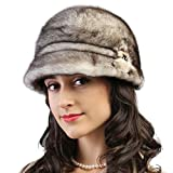 Mandy's Women's Winter Snow Dress Stage Show Genuine Mink Fur Caps Hats (one size adjustable, Yellow-brown)