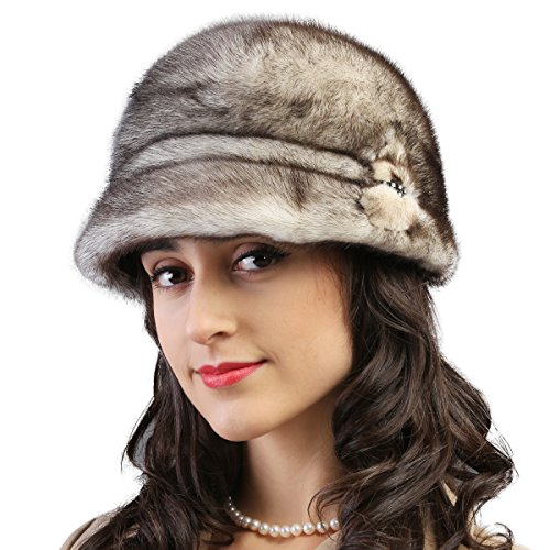 Mandy's Women's Winter Snow Dress Stage Show Genuine Mink Fur Caps Hats (one size adjustable, Yellow-brown) by Mandy's