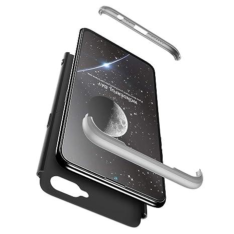 Compatible Samsung Galaxy A8 PLUS Funda(2018)Carcasa 360°ultra fina Protectora cojín+Vidrio Templado Pantalla Protector,3 in 1 PC Hard Caja Caso Skin ...