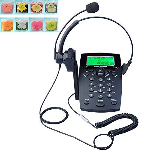 LeeKer LK-P016B DialPad Telephone with Headset Call Center Corded Phone Tone Dial Key Pad with Caller ID Redial(Black)