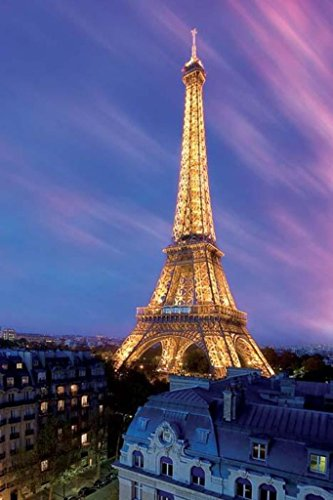 Pyramid America Eiffel Tower at Dusk Poster Art Print