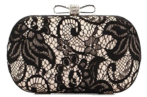 Bettyhome Women Satin Finished Black Lace Rhinestone Metal Bow Closure Clasp Fashion Clutch