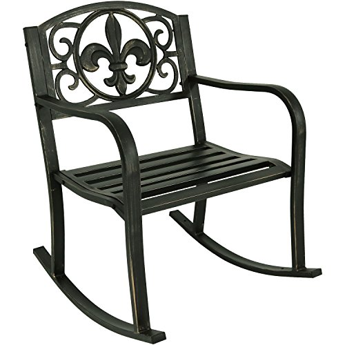 - Sunnydaze Outdoor Patio Rocking Chair, Deck and Porch Rocker Seat, Durable Metal Cast Iron, Fleur-de-Lis Design