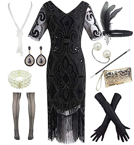 Women 1920s Gatsby Vintage Sequin Flapper Fringe Party Dress with 20s Accessories Set (XXL, Black ()