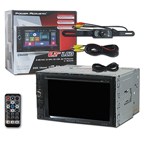 Power Acoustik Car audio Double Din 2DIN PD-624B 6.2 Touchscreen DVD MP3 CD stereo built-in Bluetooth with Remote & DCO Waterproof Backup Camera with Nightvision