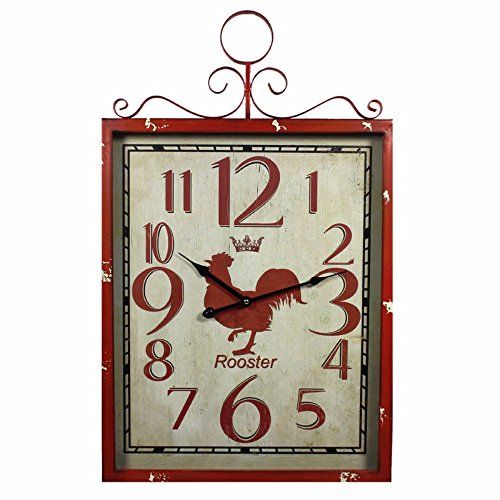Benzara Red Rooster Metal Wall Clock,Red
