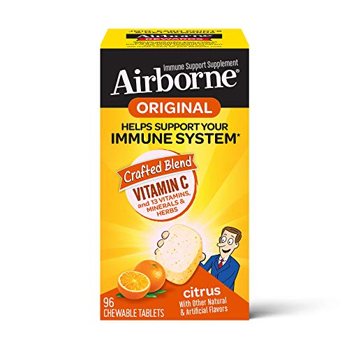 Vitamin C 1000mg - Airborne Citrus Chewable Tablets (96 count in a box), Gluten-Free Immune Support Supplement and High in Antioxidants, Packaging May Vary
