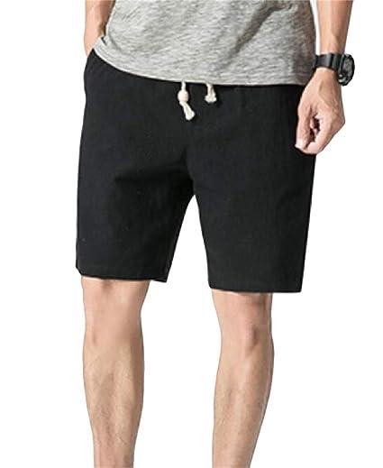 e3b3026ce8 Pandapang Men's Beach Solid Drawstring Elastic Waist Bermuda Shorts Black  XXS