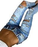 KLJR Women Stretchy Sexy Ripped Tight Moto Biker Denim Jeans Pants Light Blue US S