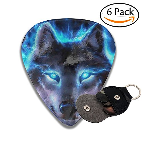 QTKO-FT Fluorescence Wolf Celluloid Guitar Picks 6 Pack Includes Thin, Medium, Heavy & Extra Heavy ()